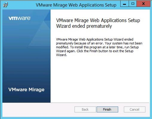 VMware_Mirage_Setup_Wizard_ended_prematurely